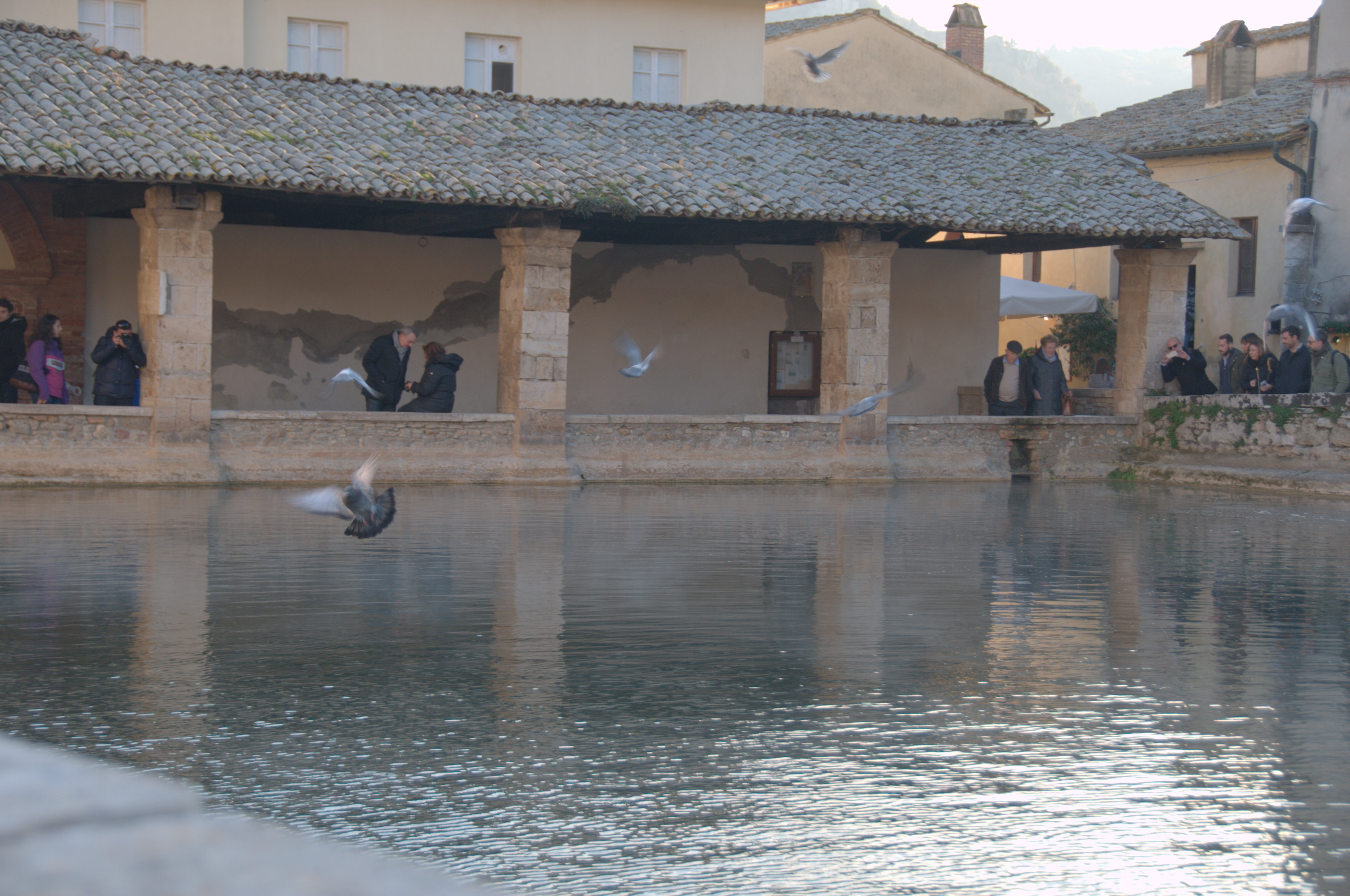 Image showing a roman bath in the centre of a spa town bagno vignone in val dorcia area of tuscany unesco world heritage site